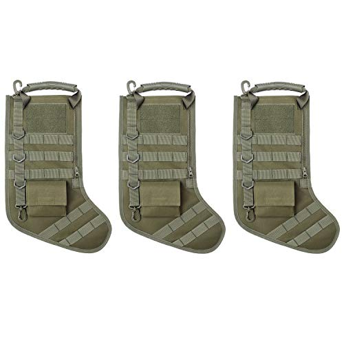 Tactical Christmas Stocking with MOLLE Gear Webbing (3 Pack Army Green)