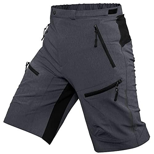 ALLY MTB Hose Herren Radhose, Wasserabweisend Mountainbike Kurz, Outdoor Sport Fahrradhose Herren Shorts (Dunkelgrau, XL(Taille:35