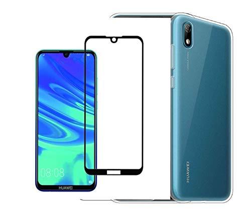 COMPATIBILE Compatible para Huawei Y5 (2019) AMN-LX1; AMN-LX2; AMN-LX3; AMN-LX9 Funda Carcasa protección Gel Silicona Soft Slim TPU Transparente + película Vidrio Templado Full Touch (Negro)