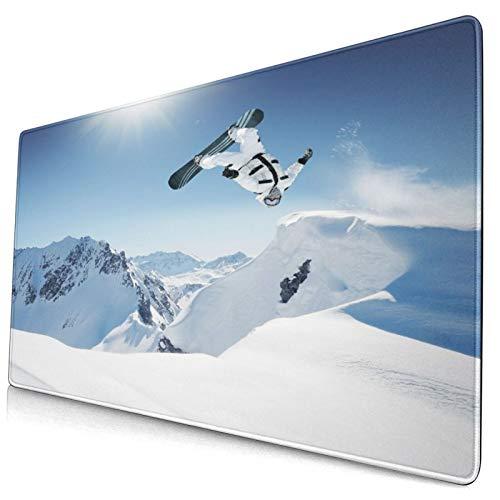 Custom Office Mauspad,Snowboard springen im hohen Berg,Anti-Rutsch-Gummiunterseite Gaming-Mauspad-Matte Schreibtisch-Dekor 15,8