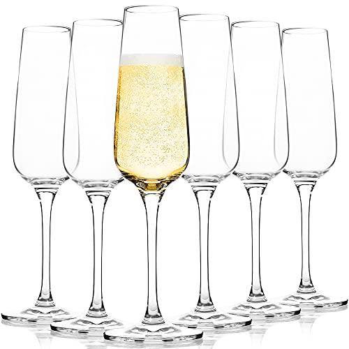 FAWLES Bicchieri Calice Flute Bicchieri di Champagne in Cristallo, Set di 6, 207 ML, Ideale per Casa Ristorante Feste e Ricevimenti, Adatto alla Lavastoviglie