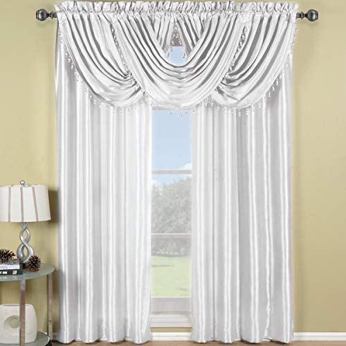 Royal Hotel Soho White Waterfall Valance, Solid Pattern, 57x37 inches