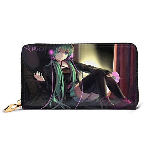 XCNGG Pochette portafogli con cerniera in pelle giapponese Anime Hatsune Miku, può contenere carte di credito, contanti, documenti, ecc. Portafoglio personalizzato fai-da-te, custodia per carte di cre