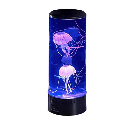 Yzbtj Lámpara De Lava De Medusas, Luz De Estado De Ánimo De Tanque De Medusas Redonda LED con 7 Colores, Luz De Noche con Enchufe USB para Decoración del Hogar, Niños