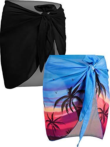 2 Piezas de Pareo de Playa de Mujeres Cubiertas Sarong Falda de Gasa de Bañador (Palma de Coco Negra y Azul)