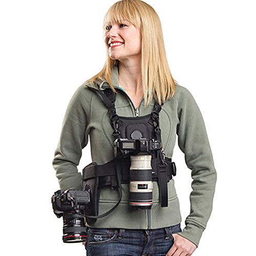 Dual Camera Harness, Sevenoak SK-MSP01 Multi Carrying Chest Vest System with Side Holster for Canon 6D 600D 5D2 5D3 Nikon D90 Sony A7S A7R A7S2 Panasonic Olympus DSLR Cameras Climbing Wedding Travel