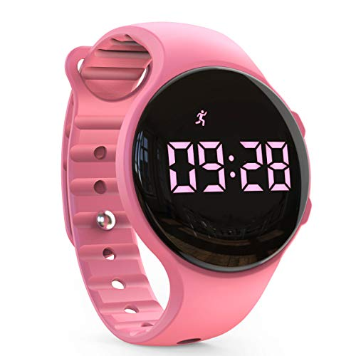 synwee Kids Led Pedometer Watch, Digital Steps Tracker, Non-Bluetooth, Vibrating Alarm Clock, Stopwatch, Great Gift for Children Teens Girls Boys (Pink)