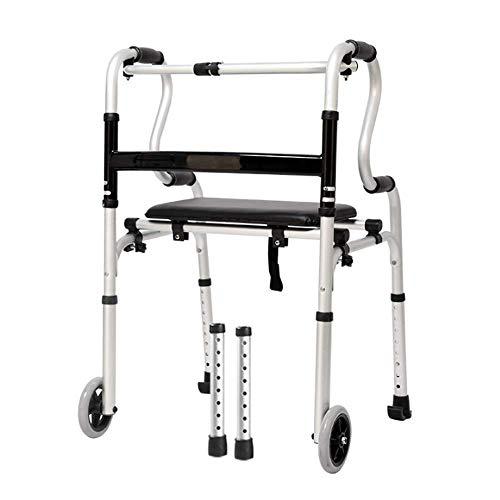 Lianganan Caminar cuatro patas del asiento plegable Walker Palo Con PP con ruedas plegable Walker Walker antideslizante bastón con el Hospital