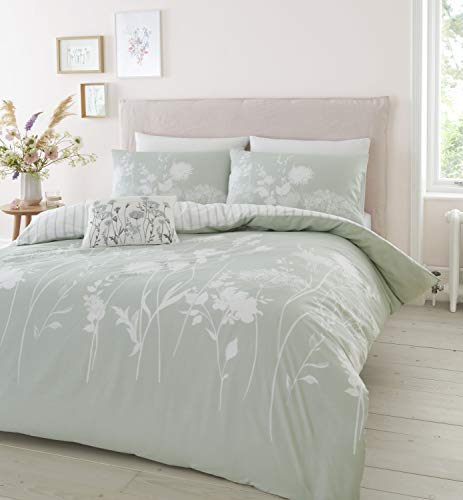 Catherine Lansfield Meadowsweet Floral Easy Care King Duvet Set Green