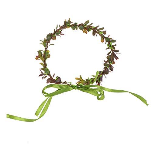 Lurrose Guirnalda Floral Nupcial Corona de Flor de Pelo con Hojas Hecho a Mano Tocado para Novias Mujeres Accesorio de Fiesta de la Boda (Café)