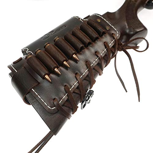 ORIGINAL POWER Leather Rifle Buttstock Ammo Holder with Cheek Rest Pad, Cartridge Shell Holder, Adjustable Rifle Butt Cuff