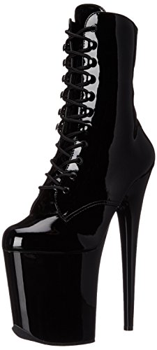 Pleaser Women's Flam1020/B/M Boot, Black Patent/Black, 7 M US