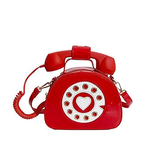 Bolso de mensajero en forma de teléfono creativo de las mujeres, respuesta divertida al teléfono PU cuero Crossbody bolso Tote bolso, color Negro, talla 33 EU