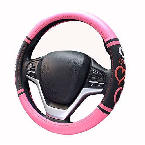 Lisaion Heart Automotive - Funda universal para volante de coche, color rosa y negro