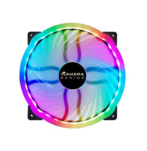 SaharaGaming - Ventilador ARGB (20 x 20 x 3 cm), Compatible con Sahara RGB o concentrador de Ventilador de sincronización (6 Pines)