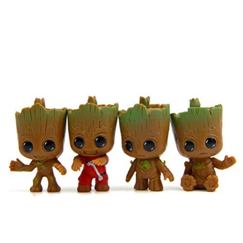 EASTVAPS Juguete 4 unids / Set Brinquedos Guardianes de la Galaxia Mini Cute Groot Baby Tree Figuras de Acción Muñeca de Pastel de Dibujos Animados