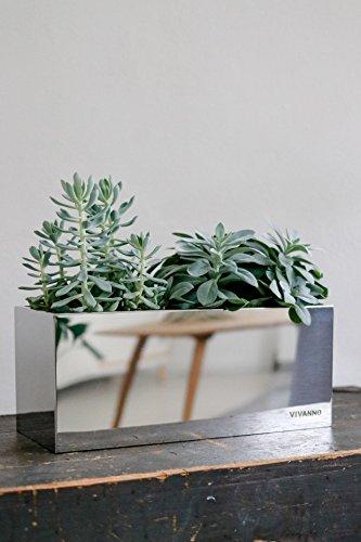 Blumenkasten Pflanzkasten Fensterbank-Kasten Edelstahl Acento Vertico - 17 x 40 x 17 cm
