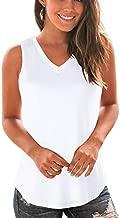 WFTBDREAM Basic Tank Tops for Women Loose Fitting V Neck Undershirt White XL