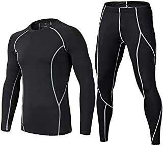 Men's Thermal Underwear Set Soft Fleece Lined Sport Top and Pants Base Layer Set