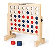 A11N 4-in-a-Row Game with Carrying Bag   20x20 inch Board   Premium Wooden 4 Connect Game for Family Fun