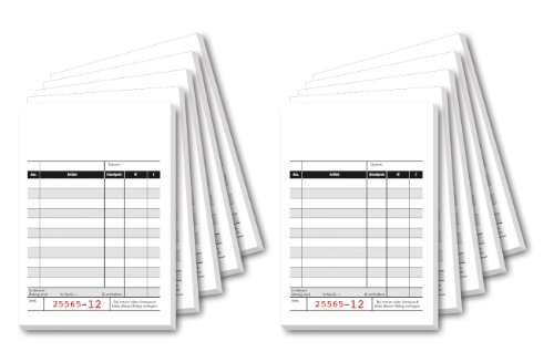 SIGEL KC620/10 Kassenblock mit Additionsblatt, 10x16,5 cm, 10 Stück á 2x50 Blatt