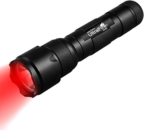 ULTRAFIRE 630nm Red Light LED Tactical Torch Zoomable Single Mode Night...