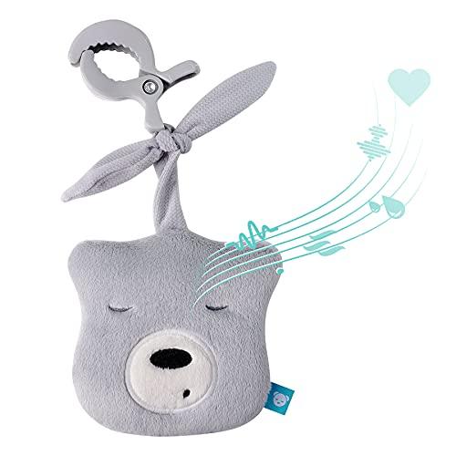 myHummy Peluche bruit blanc bébé portable mini gris avec pince | Aide à l'endormissement enfant | Machine à bruit blanc - battement coeur bruit des vagues | Peluche my hummy sommeil bebe apaisement