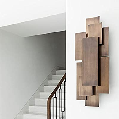 Decorlives Antique Copper Color Multi Rectangles Metal Wall Sculpture Art Decorative Wall Hanging Decor by Decorlives Inc