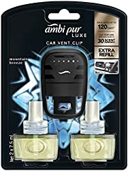 Ambi Pur Luxe Car Vent Clip Mountain Breeze Car Air Freshener, 7.5ml (Pack of 2)