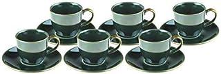 Alisveristime 12 Pc Turkish Greek Arabic Coffee Espresso Cup Saucer Porcelain Set (Hattat Design) Cappu