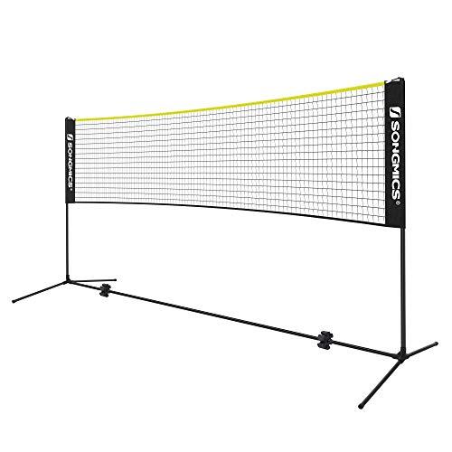 SONGMICS 5 m Badmintonnetz, Tennisnetz, höhenverstellbar, Set bestehend aus Netz, stabilem Metallgestell und Transporttasche, schwarz-gelb SYQ500B02