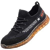 Zapatos de Seguridad para Hombre Trabajo Zapatos con Puntera de Acero Zapatillas Suela Blanda Sneakers Running Transpirable Antideslizante Aislamiento S3 Negro Yvelands(Amarillo,45)