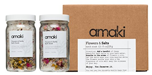 Amaki Herbal Bath Soak Blend of Epsom and Dead Sea Salt Infused with Lavender Essential Oil - For Stress Relief, Reduce Sore Muscle, Skin Soothing - Luxury Gift Set of 2, 8 ounces Jars