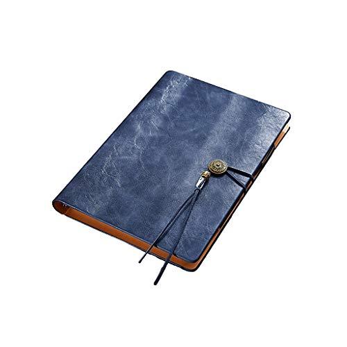 Cuadernos Taccuino Loose PU Cuaderno de Tapa Dura de Cuero Vegano Hoja de Papel Grueso 100gsm Crema con Cierre elástico Blocs de Notas y Diarios (Color : Blue)