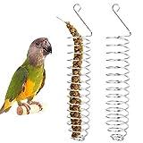 Alimentador de Pájaros en Espiral Acero Inoxidable, 2 Piezas Pincho de Loro, Cesta de Comida Pincho para Frutas y Verduras, Cesta de Frutas para Pájaros,Periquitos,Cacatúas(9,84 * 1,7in)