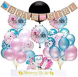 """Gender Reveal Party Supplies and Baby Shower Boy or Girl Kit (64 Pieces) - Including 36"""" Reveal Balloon, Confetti Balloon..."""