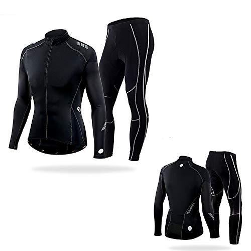 Conjunto de Jersey de Ciclismo para Hombre/Mujer, Ropa de compresión Deportiva de Capa Base de Secado rápido, Grande/Extragrande, M/L/XL/XXL/XXXL,Negro,M