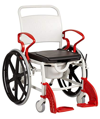 FabaCare Dusch- Toilettenrollstuhl Genf, 24 Zoll Räder, bis 130 kg, made in Germany, Premium Toilettenstuhl, Duschstuhl fahrbar, Rollstuhl mit WC Eimer, Grau-Feuerrot