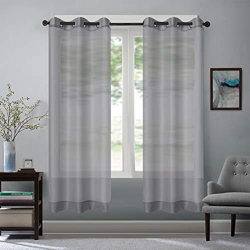 Rose Home Fashion Vorhang Transparent Weiß mit Ösen, 2 Stücke Voile Gardinen aus Terylen Ösenschal für Wohnzimmer Schlafzimmer 225 x 140 cm (H x B), Grau