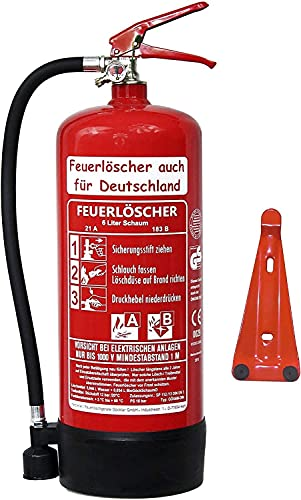 2X 6 L Schaum Feuerlöscher Brandklasse AB DIN EN 3 + GS, Manometer, Wandhalter, Messingarmatur Sicherheitsventil, Standfuß, Schaumlöscher (Mit Prüfnachweis u. Jahresmarke)