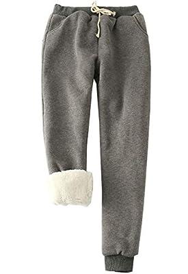 Flygo Womens Casual Running Hiking Pants Fleece Lined Activewear Sweatpants (Large, Dark Grey)