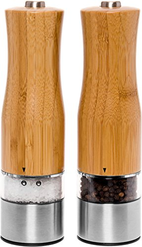 Electric Salt and Pepper Grinder Set - 2 Pack Battery Operated Automatic Pepper Shaker Mills w/LED Light and Adjustable Coarseness by Mindful Design (Bamboo)