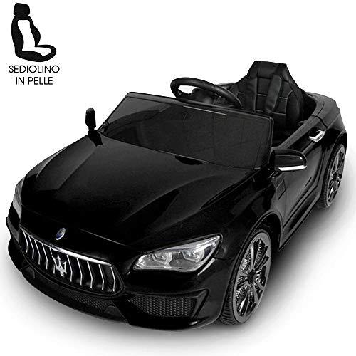 BAKAJI Auto Elettrica Bambini Macchina Maserati Ghibli 2020 Motore 12V Fari LED Funzionanti Luci Suoni Lettore MP3 AUX Telecomando Controllo a Distanza Dimensione 108 x 56 x 44 cm (Nero)