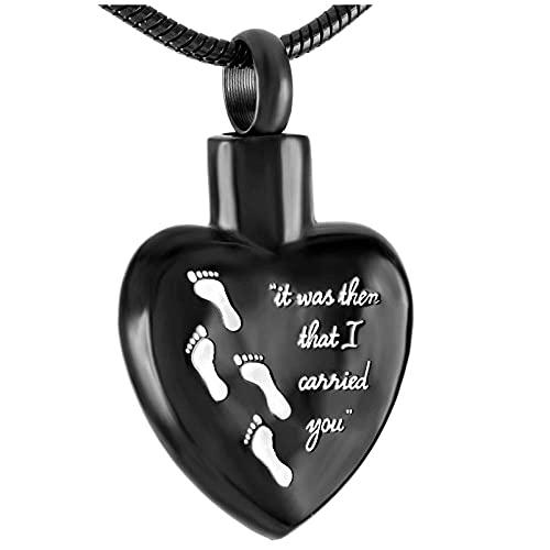 Ysain Urna Collar Cenizas Always In My Heart Memorial Urn Jewelry Colgante De Acero Inoxidable con Huella De Medallón Collar De Cremación De Recuerdo