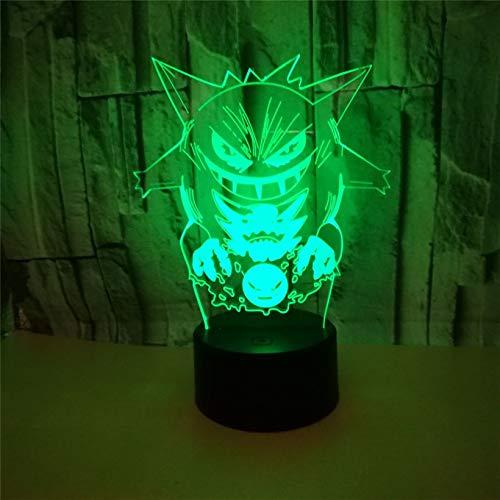 DDBBhome Cartoon Pokemon Gengar 3D Illusion Nachtlicht Acryl USB Cool 7 Farbe Blinkende LED Lampe Schlafzimmer Home Decration Kind Geschenk