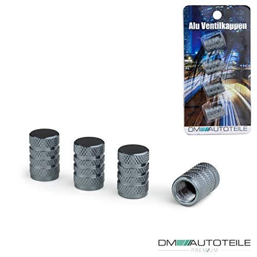 DM Autoteile Auto Ventilkappen Aluminium Reifenventil Staubkappen Alu Ventil Universal 4-er Set versch. Farben mit Dichtung (Grau)