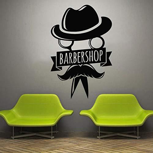 wopiaol Barbershop Muurtattoo schoonheid kapsalon venster vinyl sticker mannen kapsel stijl haar baard barbershop decoratie