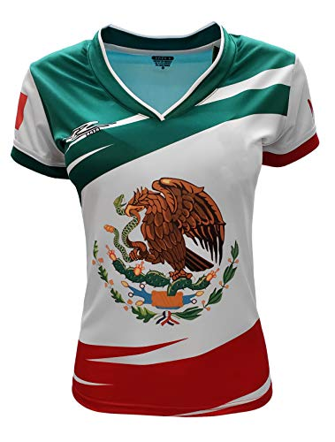 Mexico Jersey Arza Design for Women with V Neck Color Green,White,Red (Small)