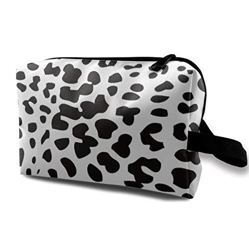 wenxiupin Bolsa de cosméticos con Estampado de Leopardo en Blanco y Negro para Mujer, Neceser de Viaje, Bolsas de Almacenamiento de Maquillaje con asa y