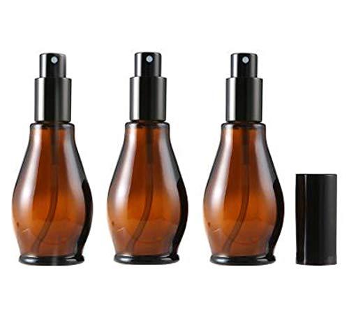 3 botellas vacías rellenables de vidrio de color ámbar, con atomizador negro y tapa antipolvo, para aceites esenciales, aromaterapia